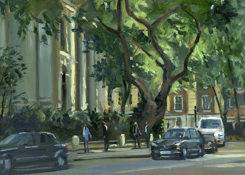 St John Smiths Square, London, plein air, Wapping group, oil painting