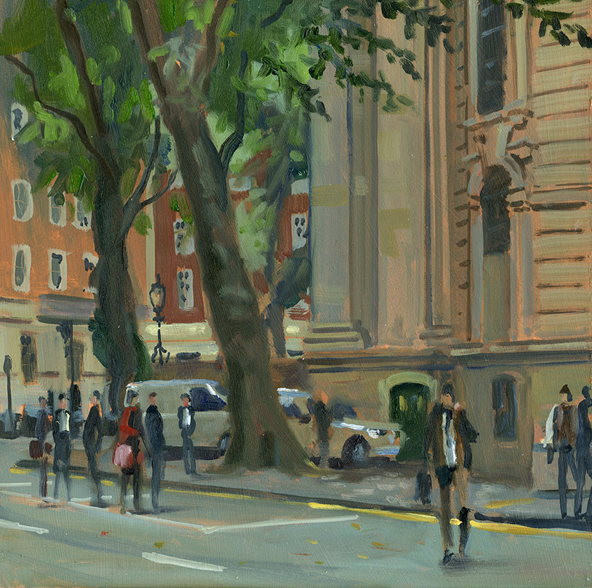 St John Smiths Square, London, plein air, oil painting, wapping group