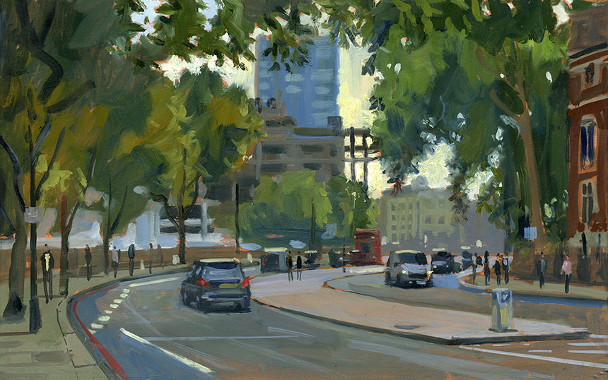 mill bank, London, thames, wapping group, oil painting