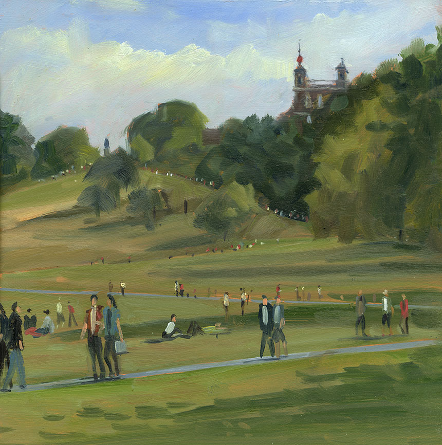 Greenwich, London, Observatory, park, brass monkeys, oil painting