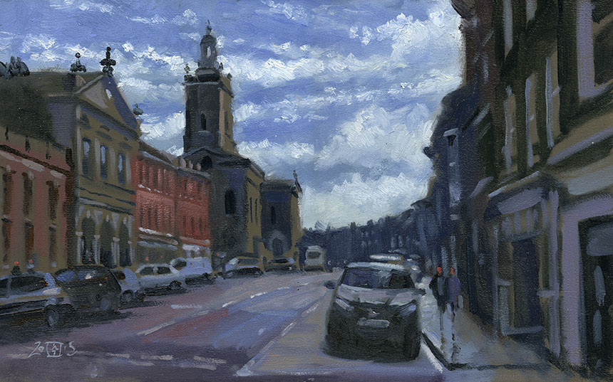 Oil painting, blandford forum, dorset, plein air