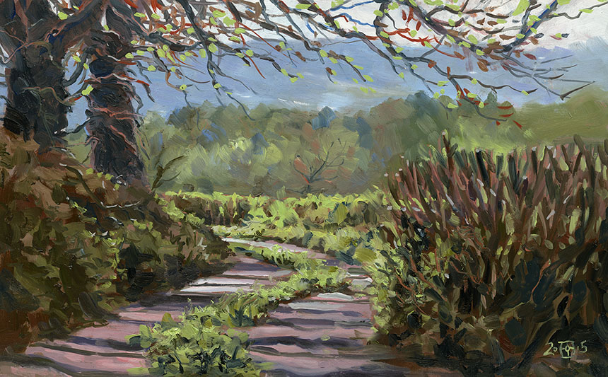 Child Okeford, Dorset, lane, plein air. oil painting