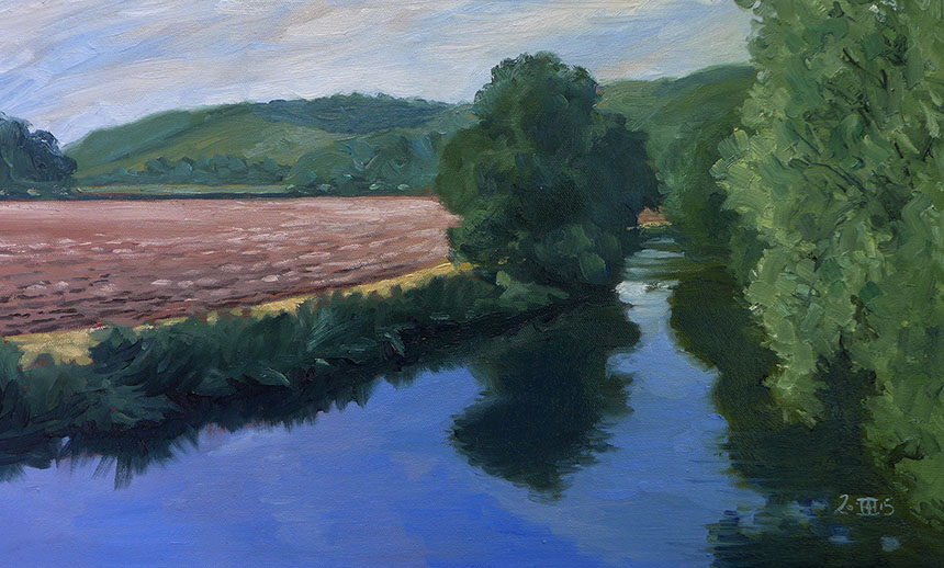 Stour, river, dorset, plein air, landscape, painting
