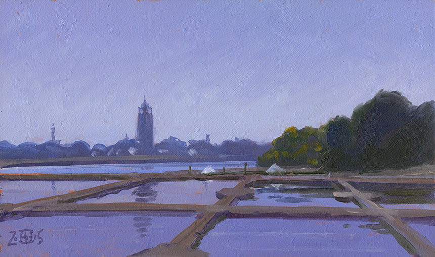 Le Croisic, salt pans, oil painting, France, plein air