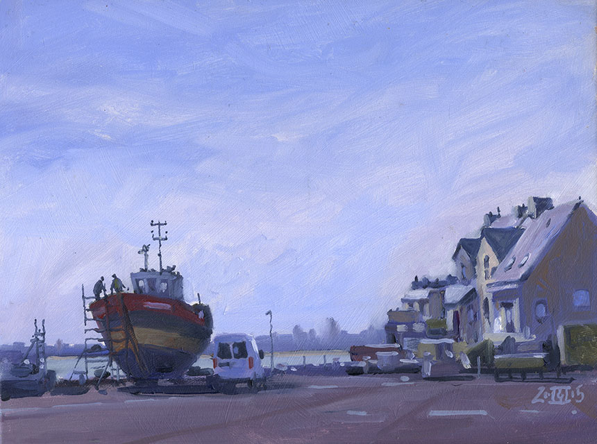Le Croisic, France, boat yard, plein air oil painting
