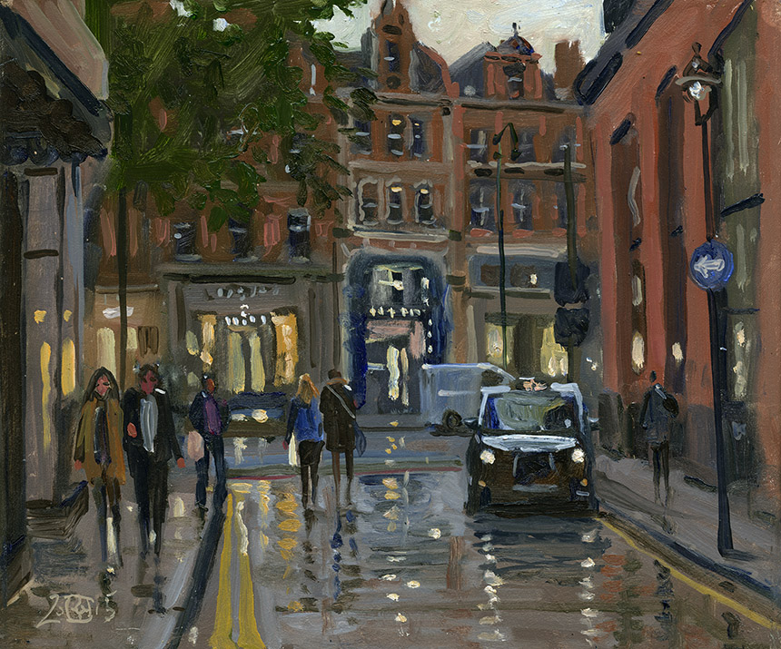 Knightsbridge, london, plein air, oil painting, art