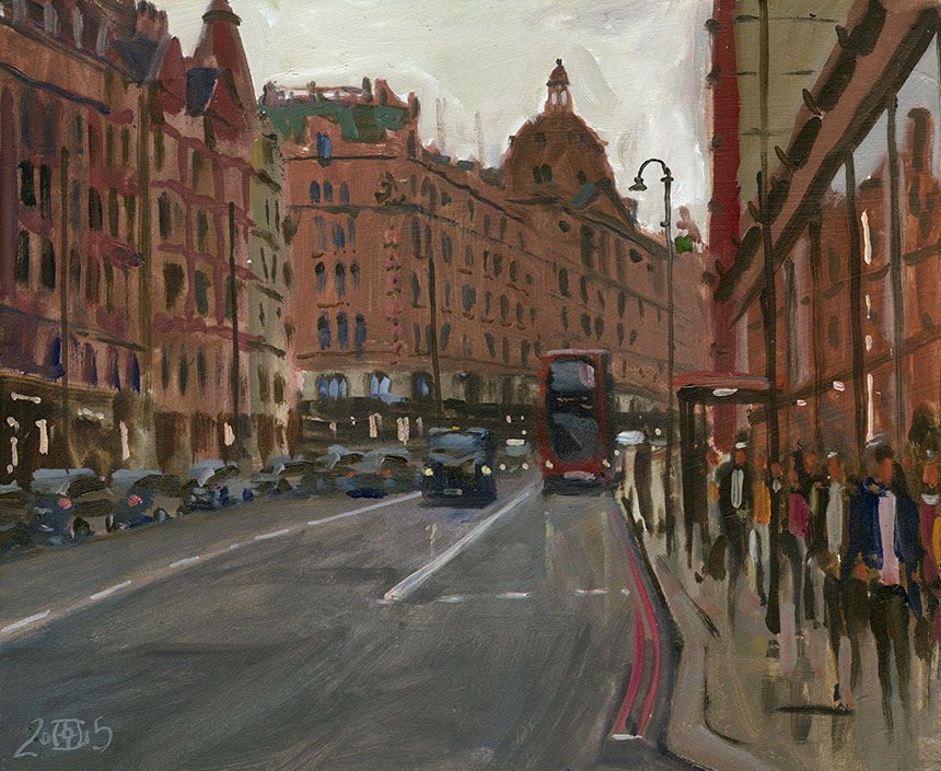 Knightsbridge, oils, london, harrods, painting plein air