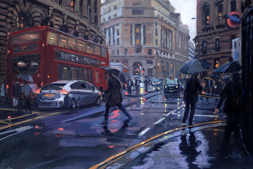City of London, oil painting