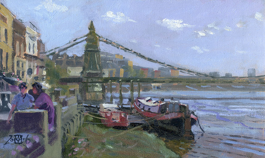 Hammersmith, Bridge, plein air, oil painting