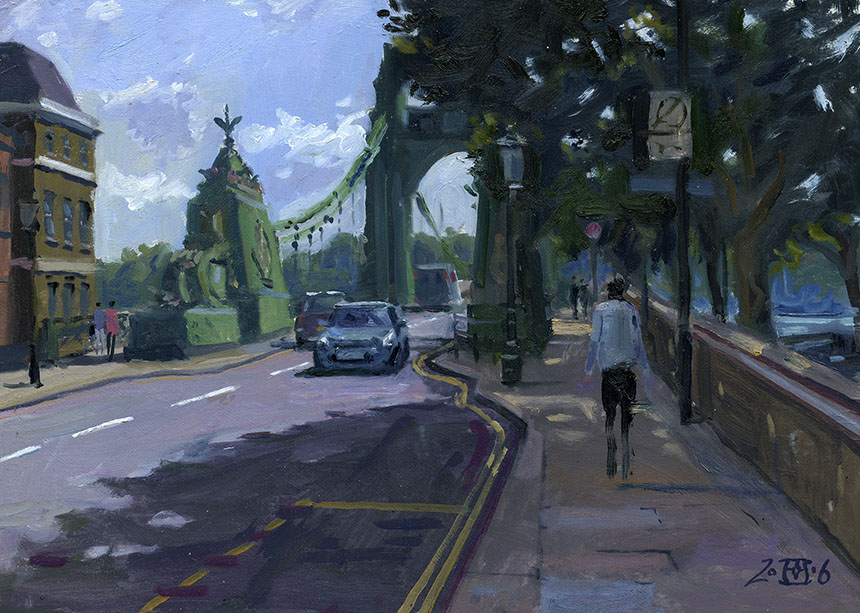 Hammersmith Bridge, London, Thames, plein air, oil painting