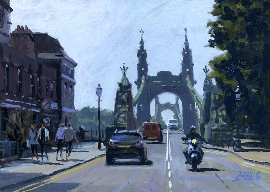 Hammersmith Bridge, London, Thames, scooter, oil painting, plein air