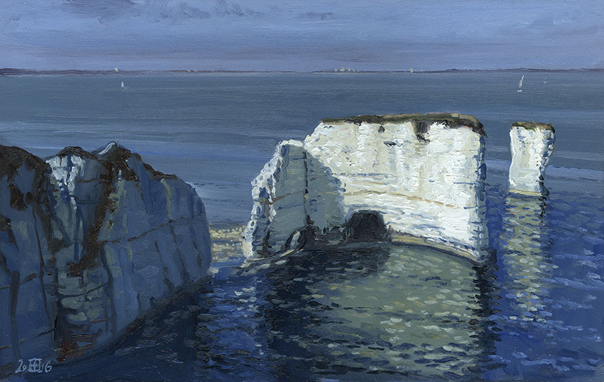 Old Harry, Dorset, cliffs, sea, oil painting