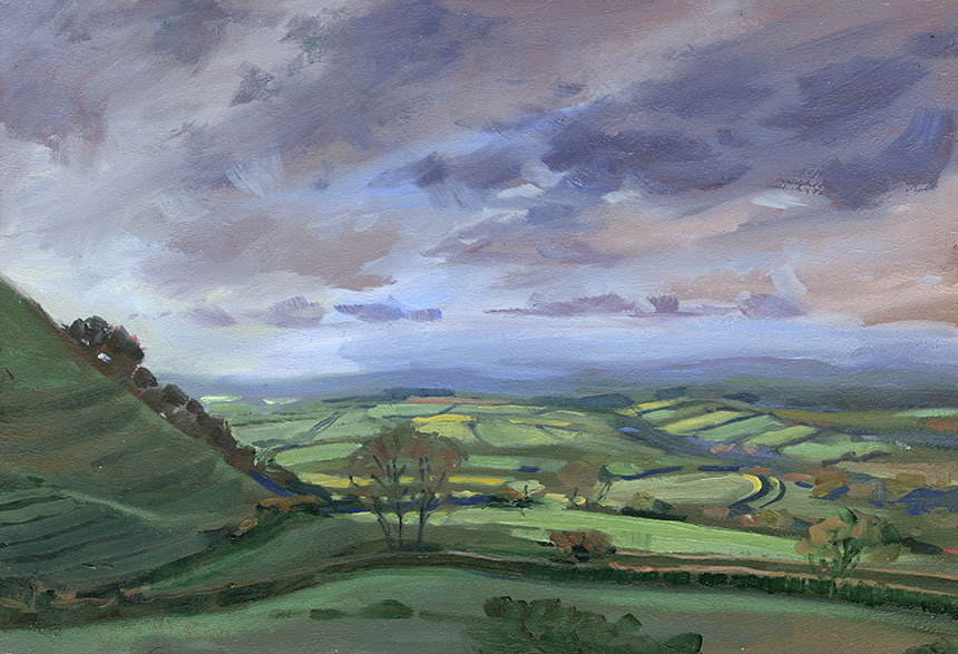 Eggarden Hill, Dorset, Plein air, oil painting, landscape