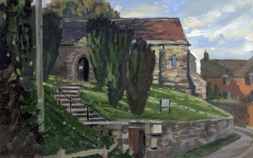 Arne, church, oil painting, plein air, Dorset