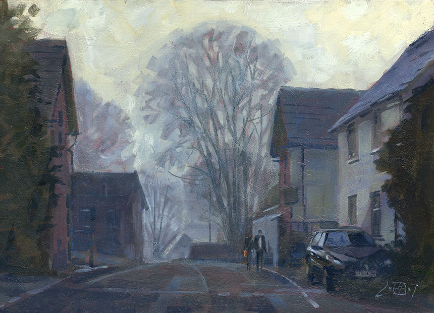 Child Okeford, Dorset, oil painting