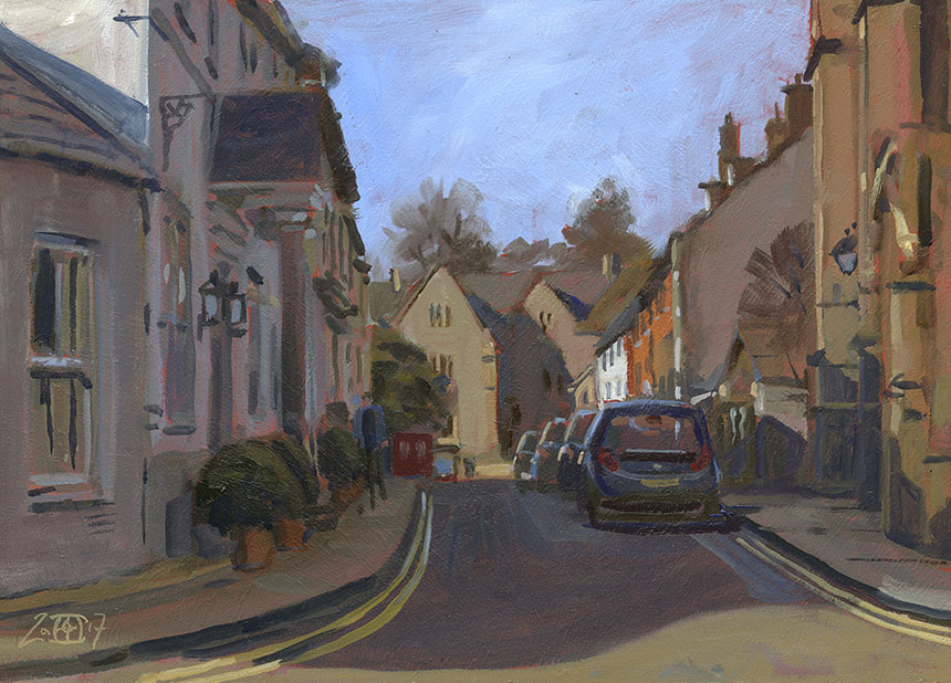 Cerne Abbas, Dorset, Oil Painting, plein air.