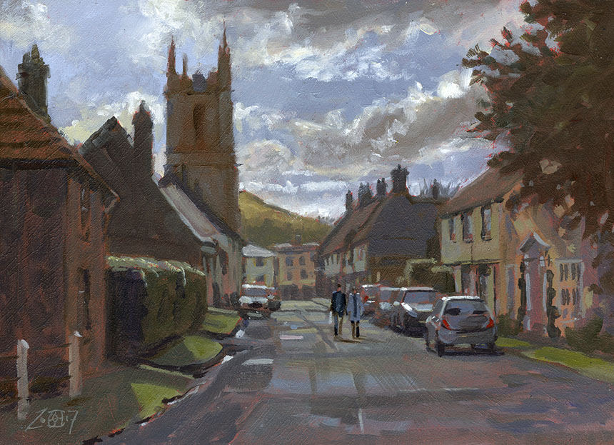 Cerne Abbas, Dorset, Church, oil painting, plein air