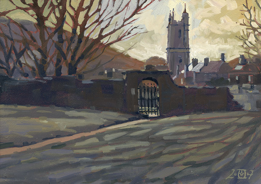 Cerne Abbas, oil painting, Dorset, church