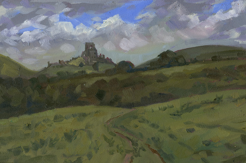 Corfe castle, Dorset, plein air, oil painting