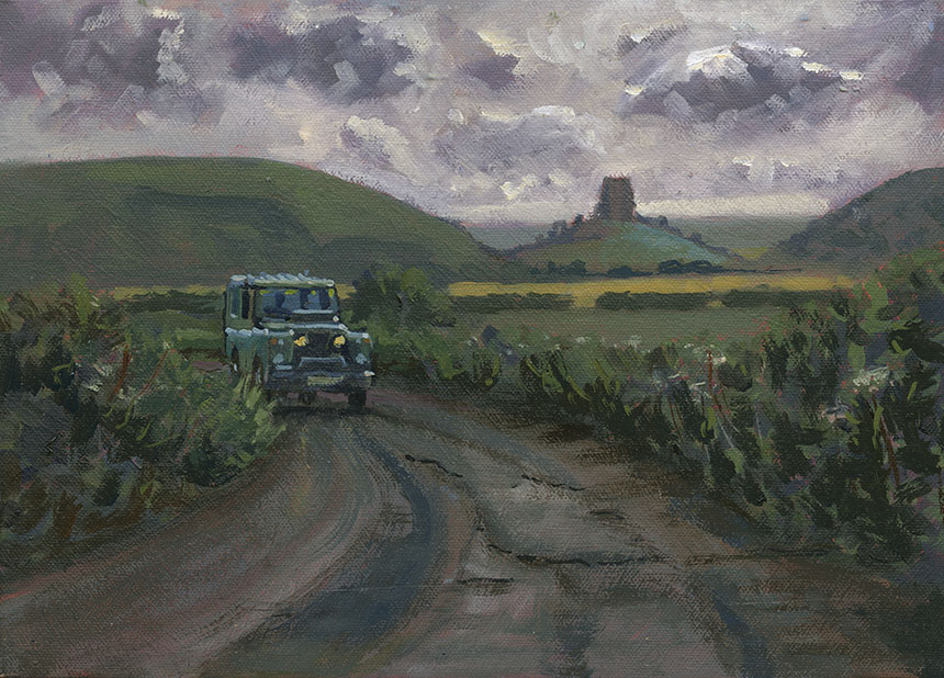 Corfe Castle, plein air, oil painting