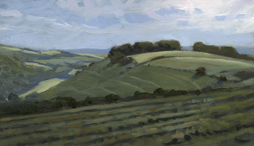 Fontmell Down, Dorset, landscape, oil painting, plein air.