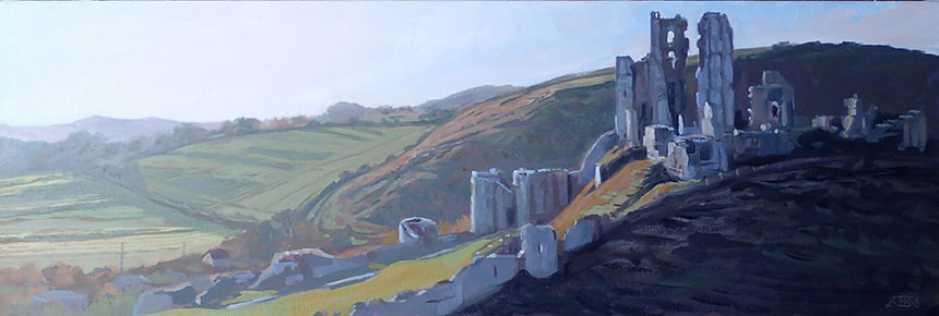 Corfe, castle, oil painting, Dorset, Rob Adams