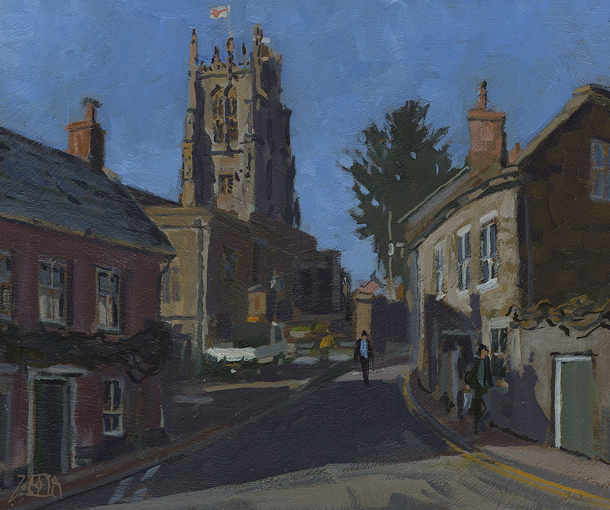 Beaminster, oil painting, Dorset, plein air, Rob Adams