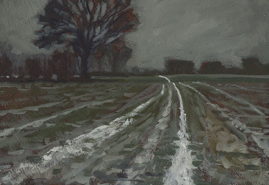 Child Okeford, plein air, snow, oil painting, Dorset