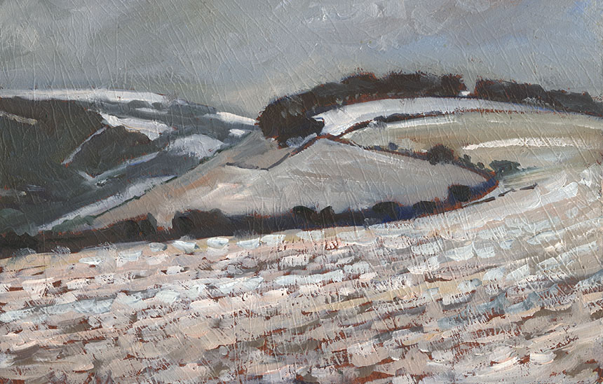 Fontmel Down, Dorset, snow, oil painting
