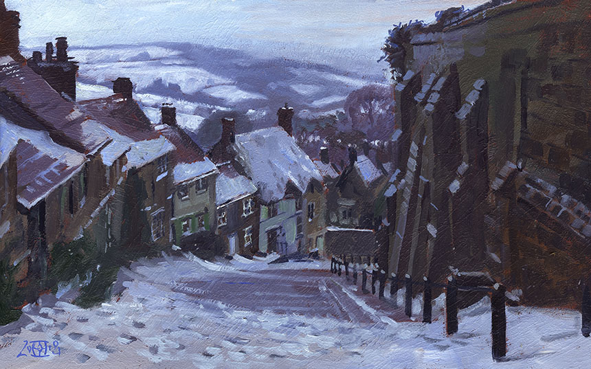 Gold Hill, Shaftesbury, Dorset, oil painting