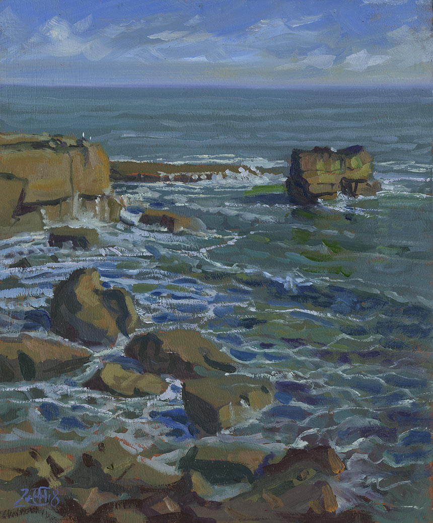 Portland Bill, Dorset, sea, plein air, oil painting
