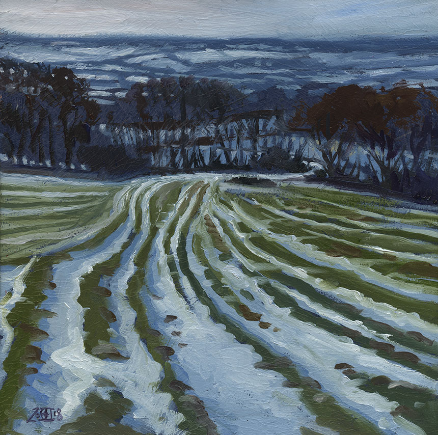 Hambledon Hill, snow, Dorset, plein air, oil painting
