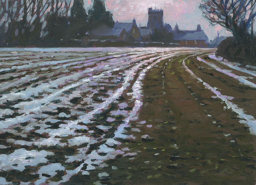 Child Okeford, Church, snow, oil painting