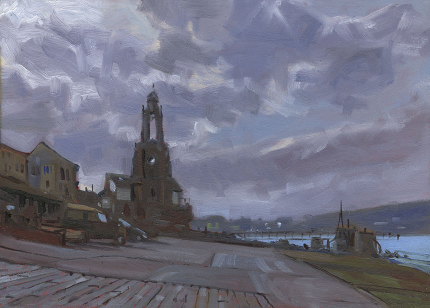 Wellington Clock Tower, Swanage, Dorset, oil painting