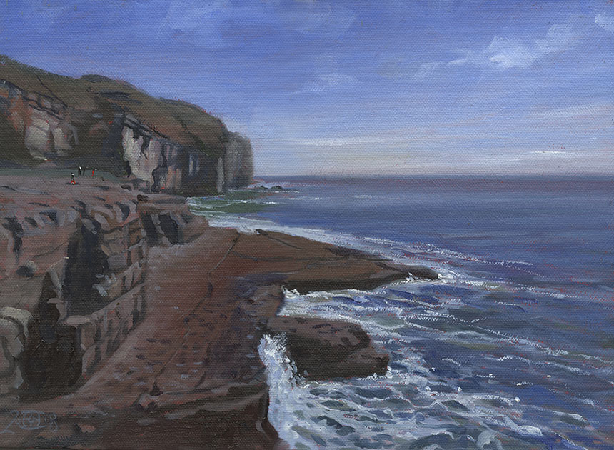 Dancing ledge, Jurassic Coast, Dorset, sea, oil painting