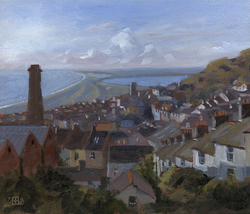 Fortuneswell, Portland, Dorset, oil painting, Chesil
