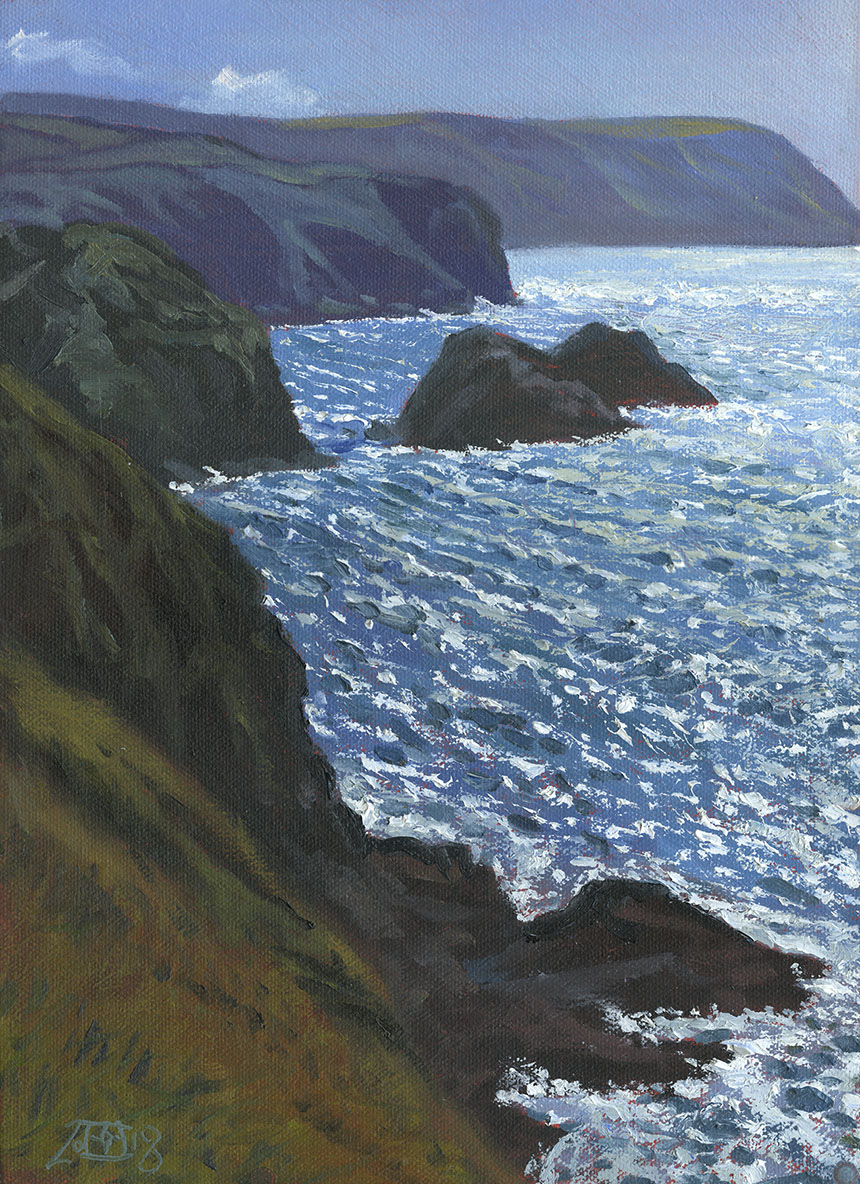 Pembrokeshire, cliffs, oil painting, sea