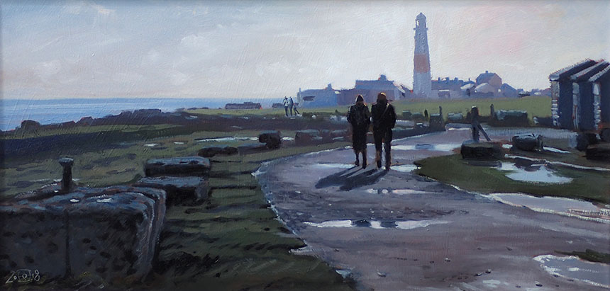 Portland Bill, lighthouse, Dorset, oil painting