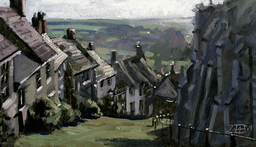 Gold Hill, Shaftesbury, Dorset, plein air, oil painting