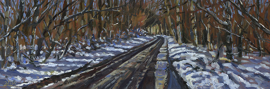 Bulbarrow, woods, snow, plein air, oil painting
