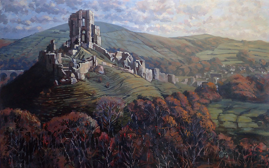 Corfe castle, dorset, oil painting