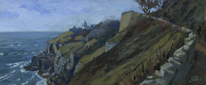 Durleston, Dorset, Anvil Point, lighthouse, plein air, cliff top, oil painting