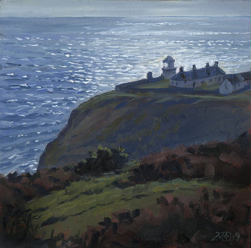 Anvil Point, Dorset, sea, light house, plein air, oil painting