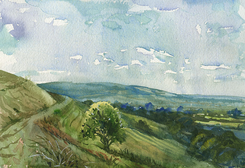 Hambledon Hill, Dorset, watercolour