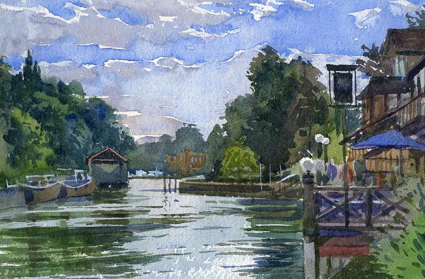 Isleworth, watercolour, Wapping Group, Thames