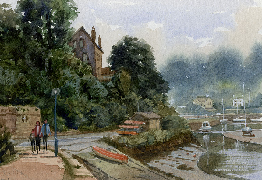 Pont Aven, watercolour, painting, france