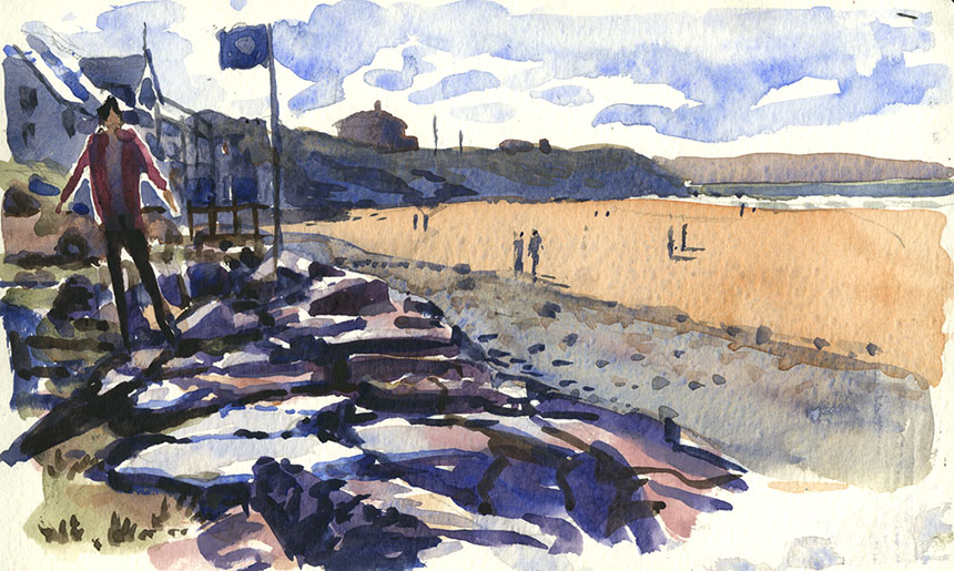 White Sands, pembrokeshire, wales, watercolour, plein air