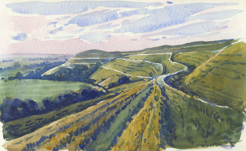 Hambledon Hill, dorset, hill fort, watercolour, painting