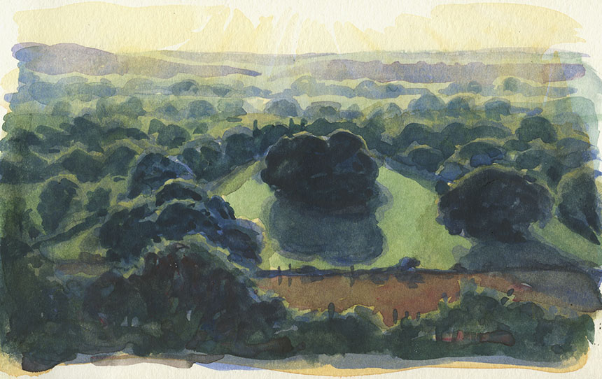 Hambledon Hill, Dorset, blackmoor vale, watercolour, painting