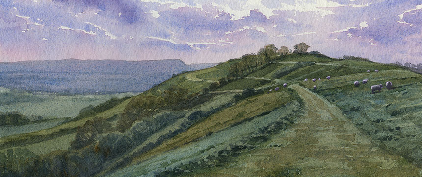 Rawlsbury Camp, Iron Age fort, watercolour, plein air, painting